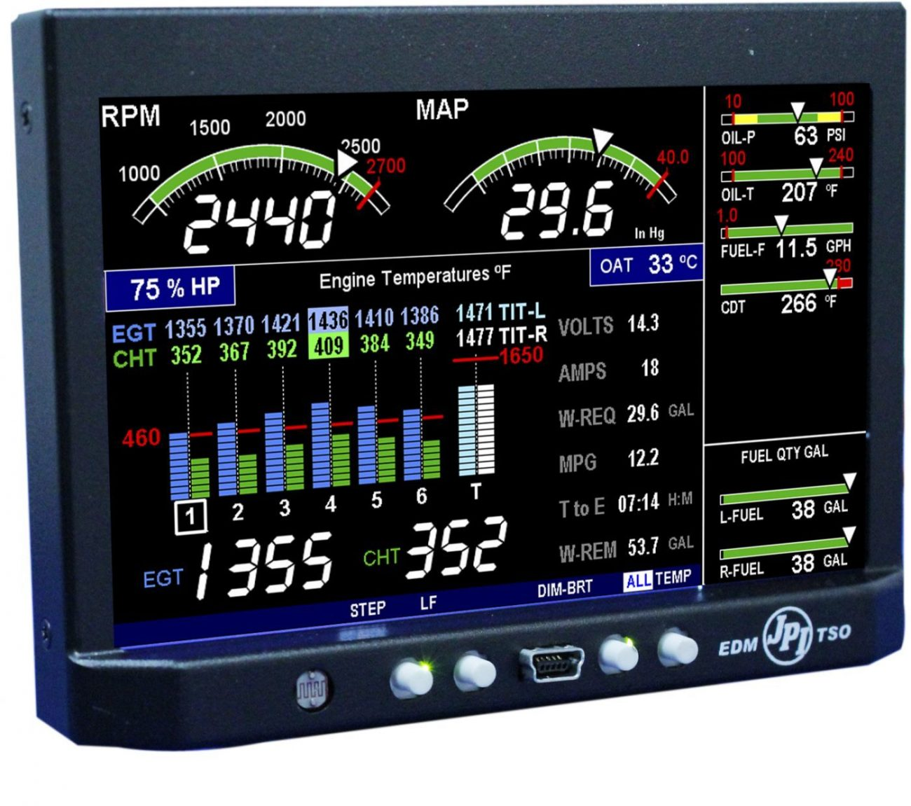 EDM 900 - Advanced Twin Piston Engine -Monitoring Instrument